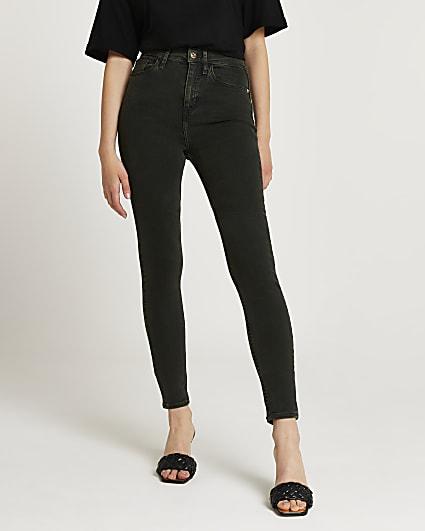 Khaki high waisted bum sculpt skinny jeans
