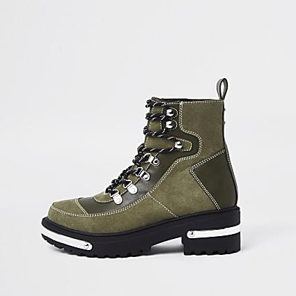 Khaki hiker detail ankle boots