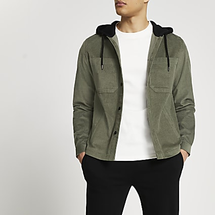 Khaki hooded long sleeve shacket