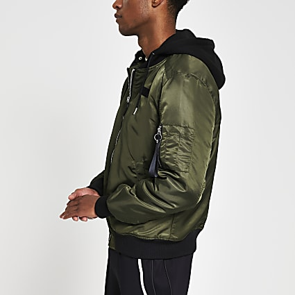 Khaki hooded MA1 bomber jacket