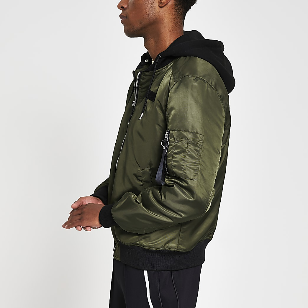 Khaki hooded MA1 bomber jacket