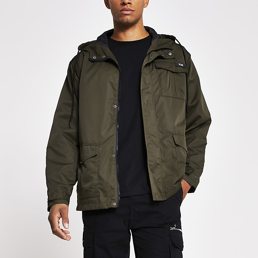 Khaki hooded parka jacket