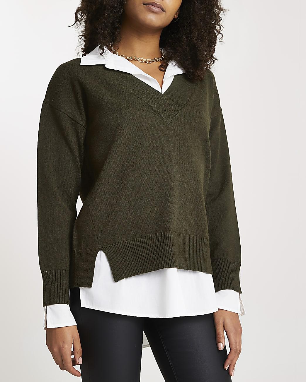 Khaki hybrid poplin shirt Jjmper
