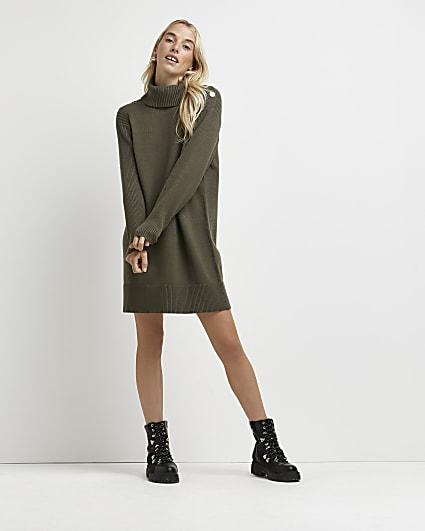 Khaki knitted jumper dress