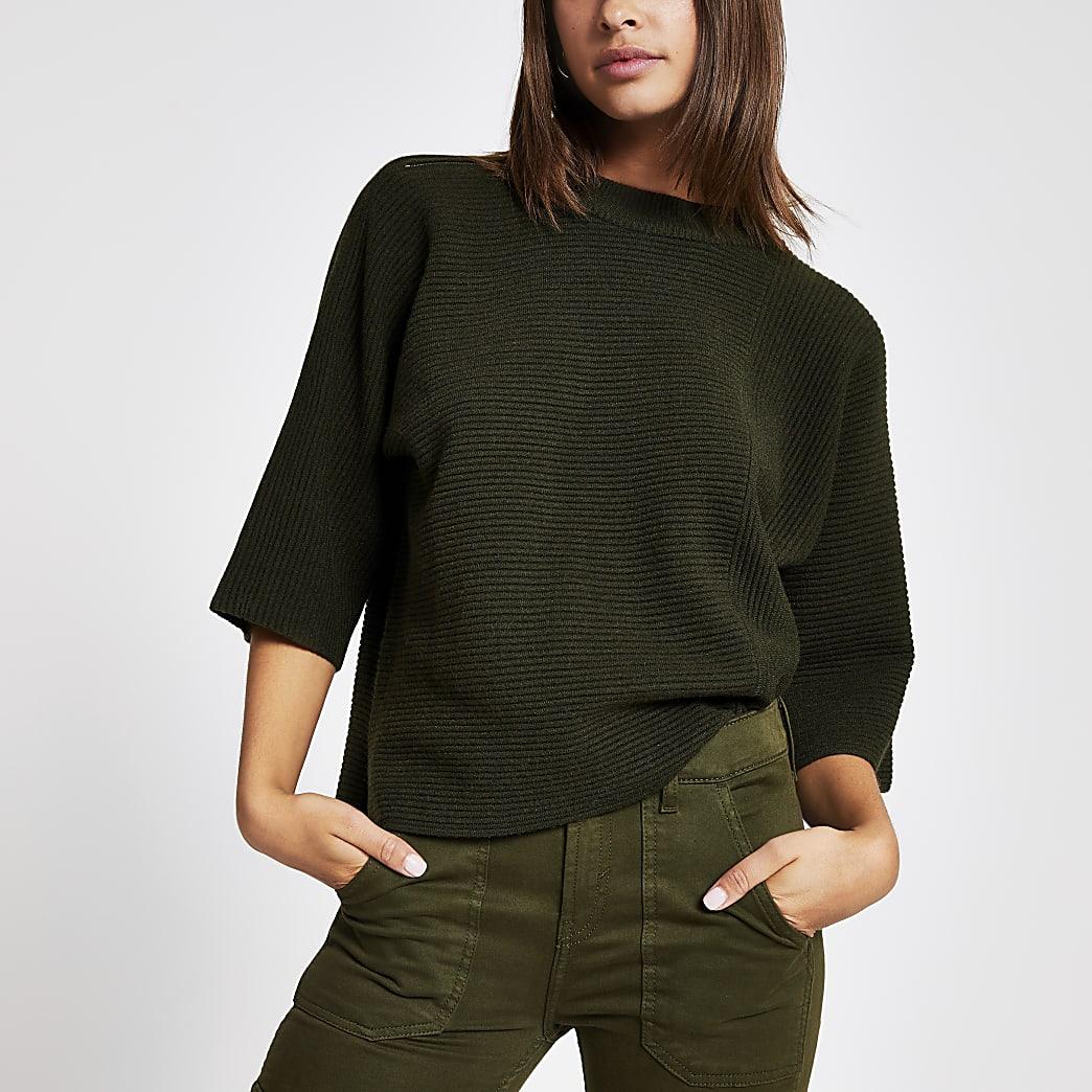 T-shirt en maille côtelée kaki