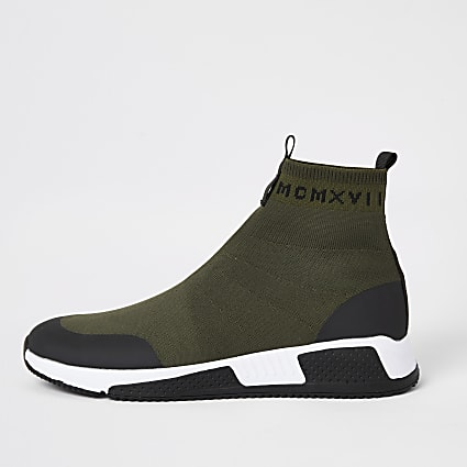 Khaki knitted runner sock high top trainers