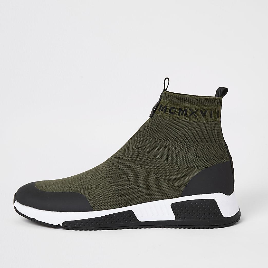 Kaki gebreide hoge sokvormigehardloop sneakers