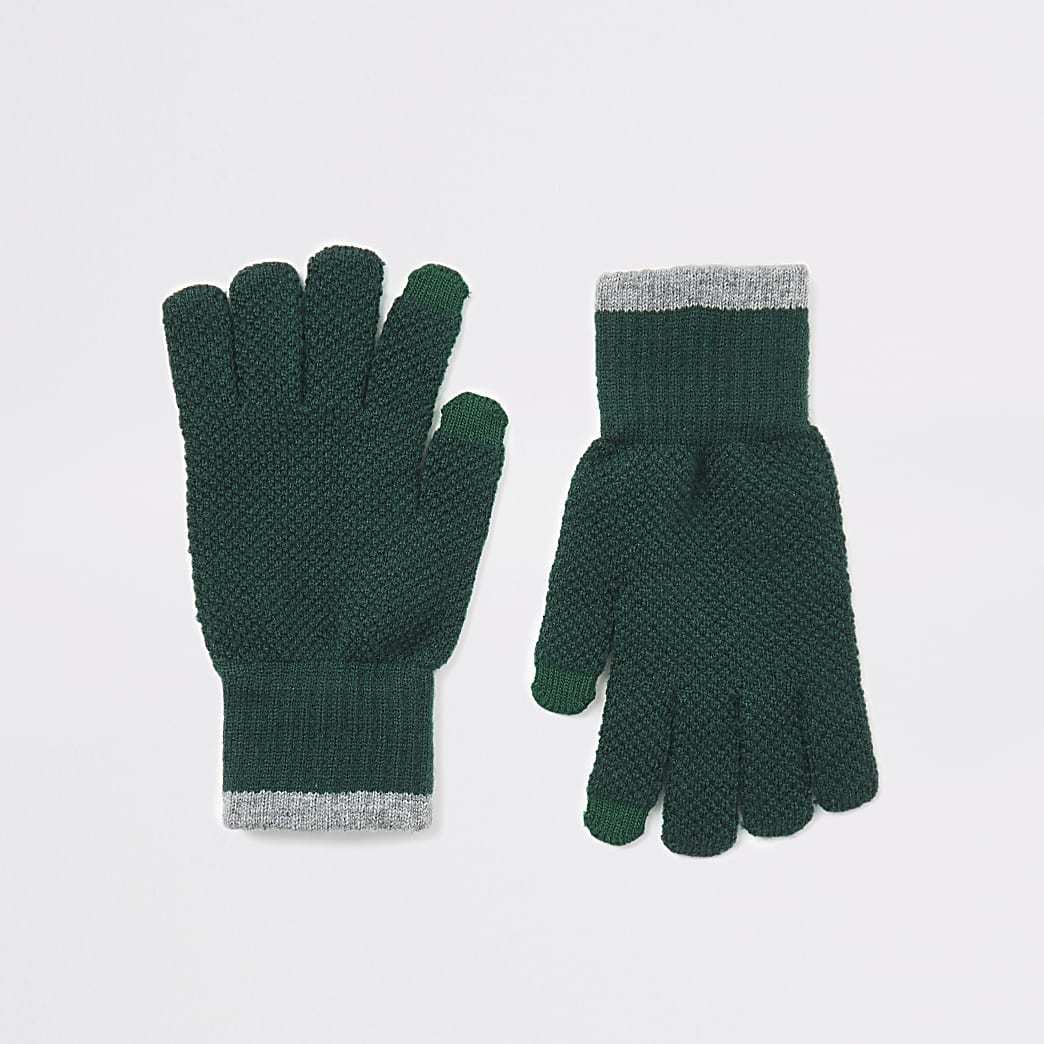 Khaki knitted tipped touchscreen gloves
