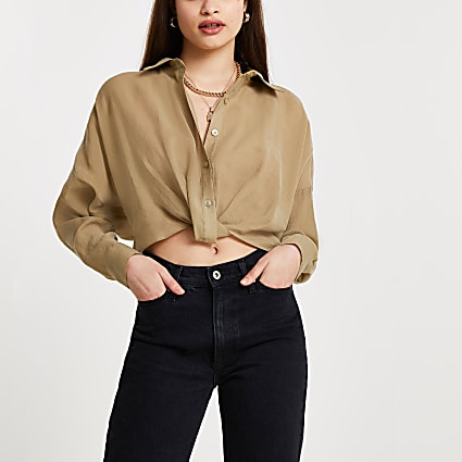 Khaki knot front long sleeve shirt