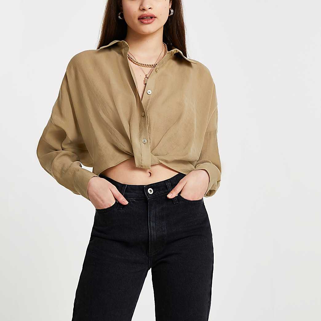 Khaki knot front long sleeve shirt