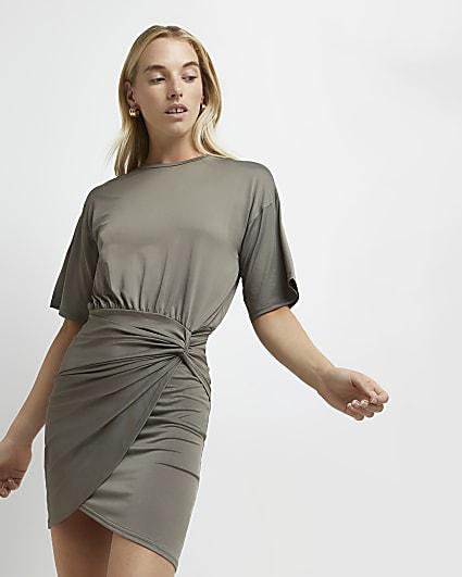 Khaki knot front mini dress