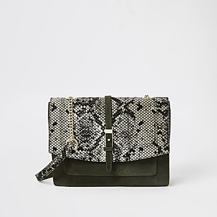 Khaki leather snake print cross body bag