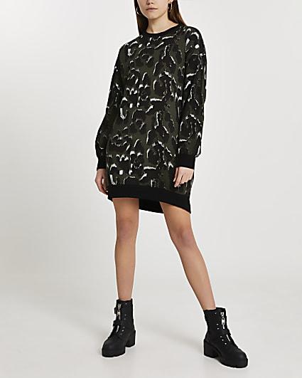 Khaki leopard print jumper dress