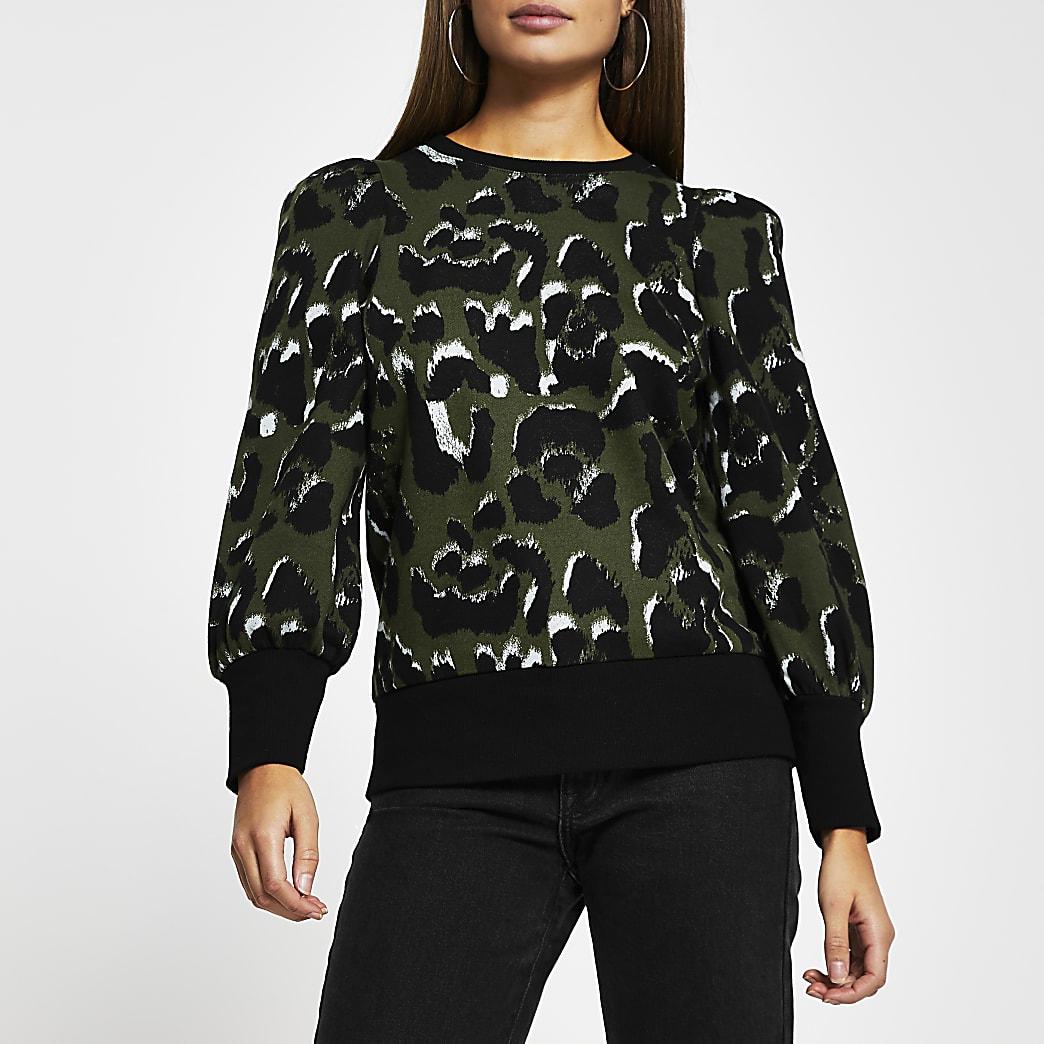 Khaki leopard print sweatshirt