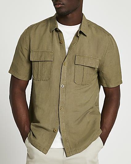 Khaki linen utility short sleeve shirt