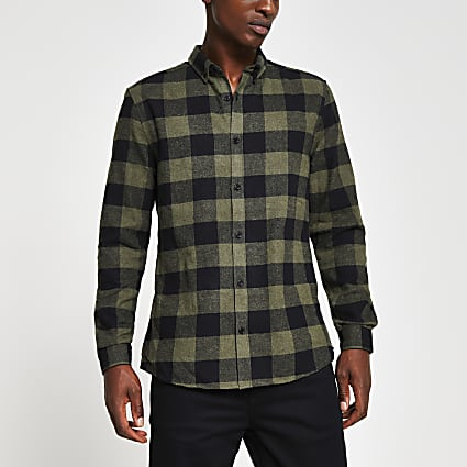 Khaki long sleeve check regular fit shirt