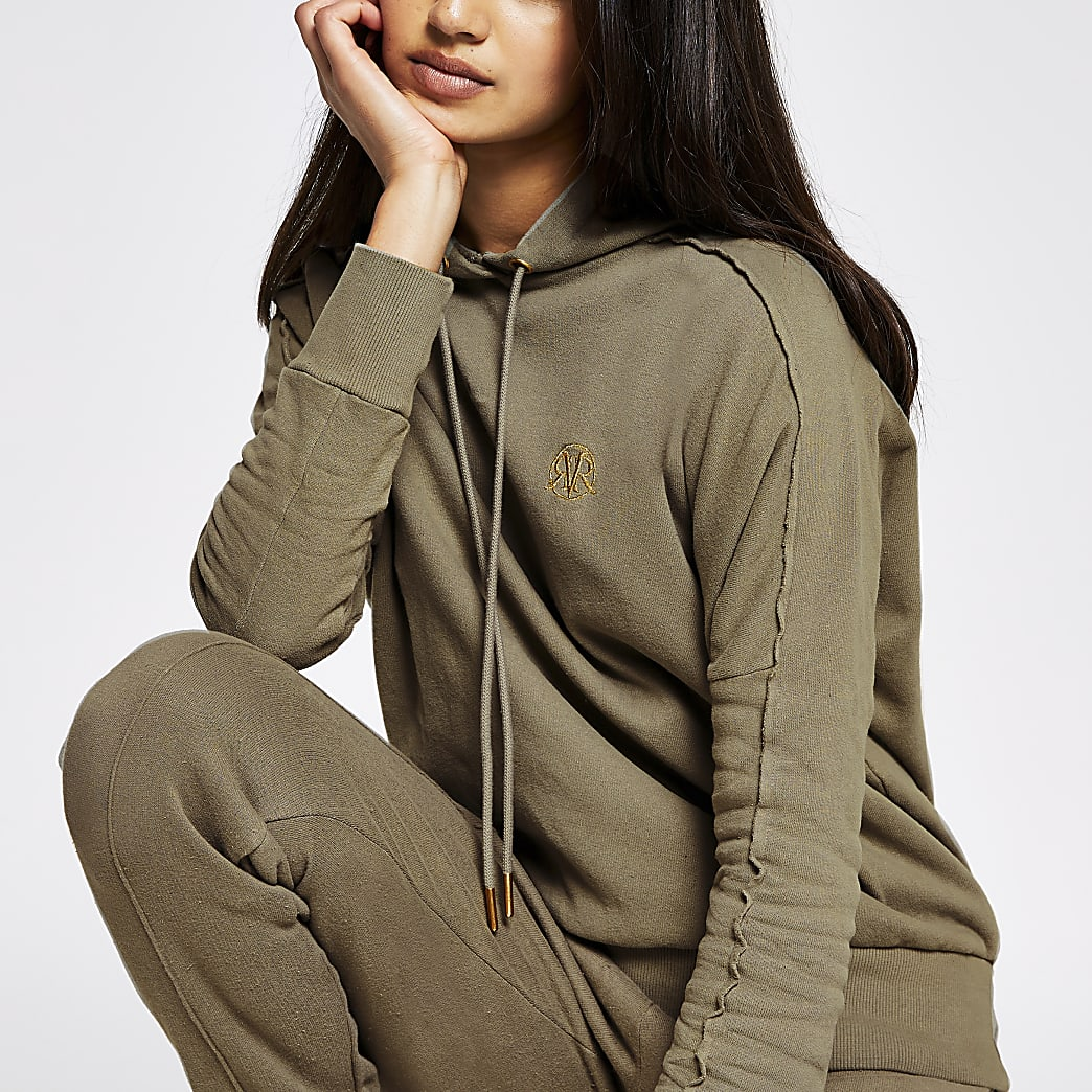 Khaki long sleeve exposed seam hoodie