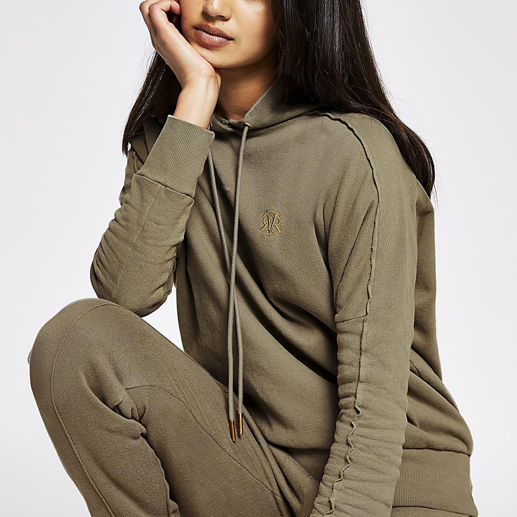 Khaki long sleeve exposed seam hoody