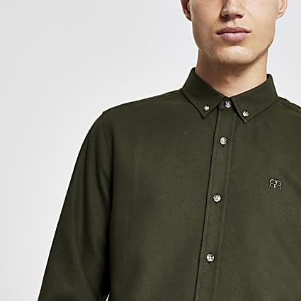 Khaki long sleeve flannel slim fit shirt