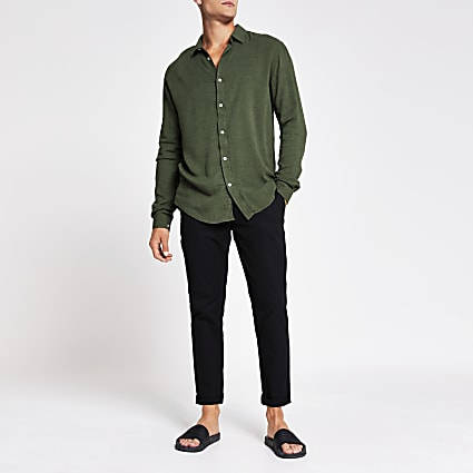 Khaki long sleeve linen regular fit shirt