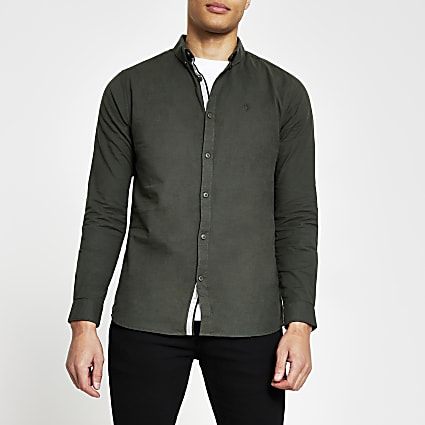 Khaki long sleeve muscle fit oxford shirt