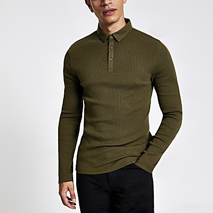 Khaki long sleeve muscle fit rib polo shirt