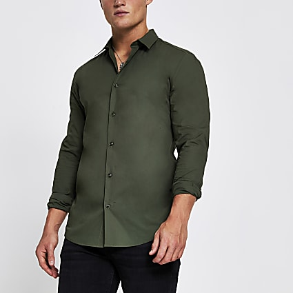Khaki long sleeve muscle fit shirt