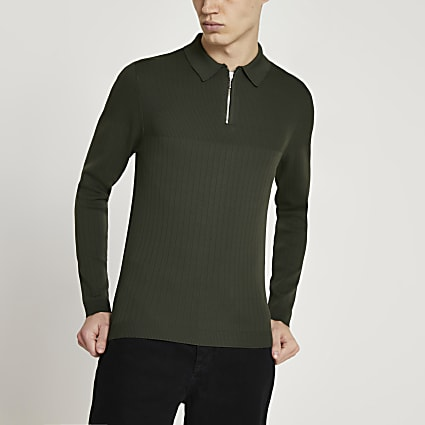 Khaki long sleeve muscle knitted polo shirt
