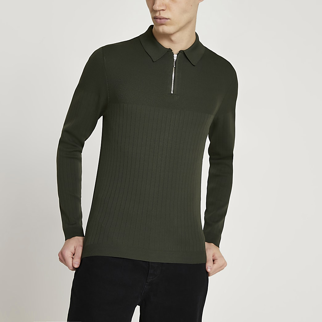 Khaki long sleeve muscle knitted polo shirt