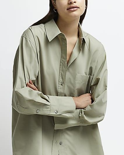 Khaki long sleeve oversized shirt