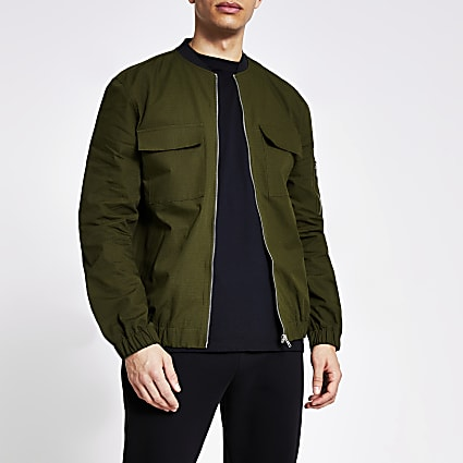Khaki long sleeve ripstop bomber jacket