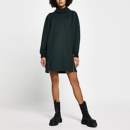 Khaki long sleeve roll neck zip jumper dress
