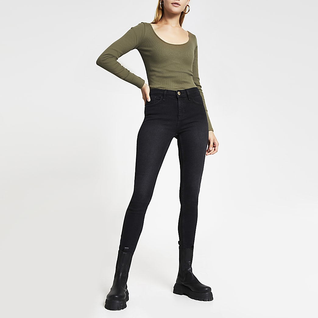 Khaki long sleeve scoop neck ribbed top