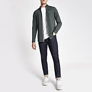 Khaki long sleeve slim fit Oxford shirt