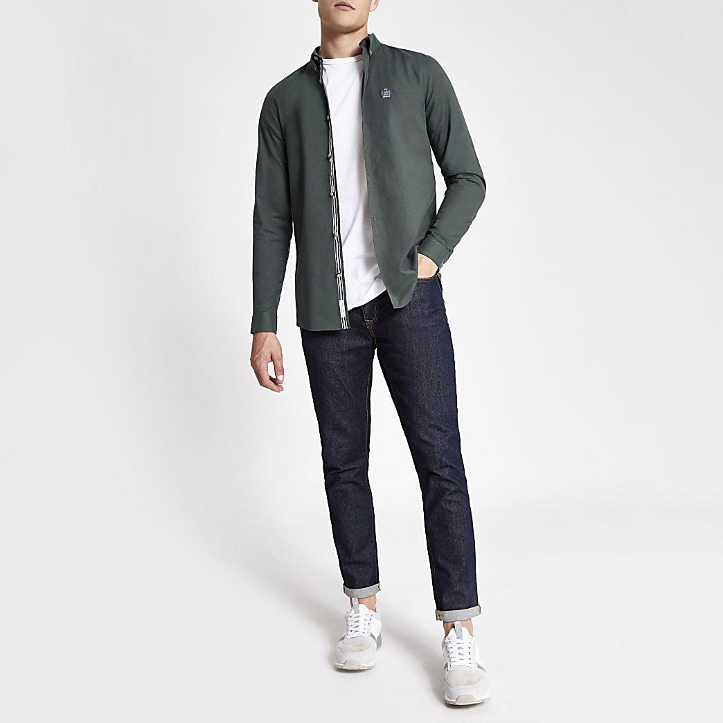 Langärmliges Slim Fit Oxford-Hemd in Khaki