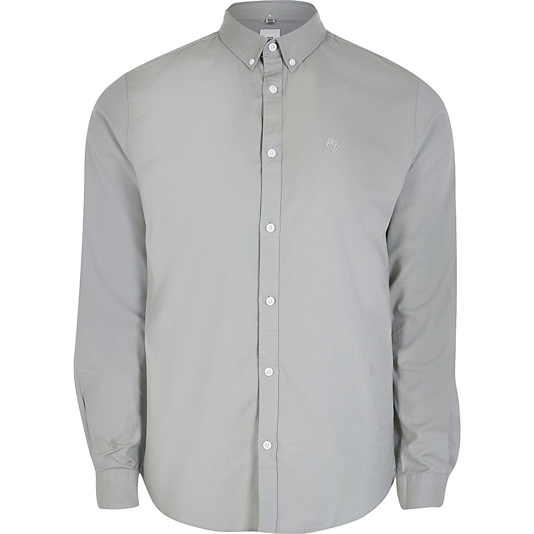 Khaki long sleeve slim fit Oxford shirt