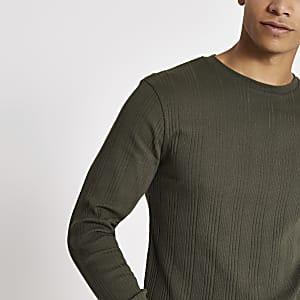 Kaki geribbeld slim-fit T-shirt met lange mouwen