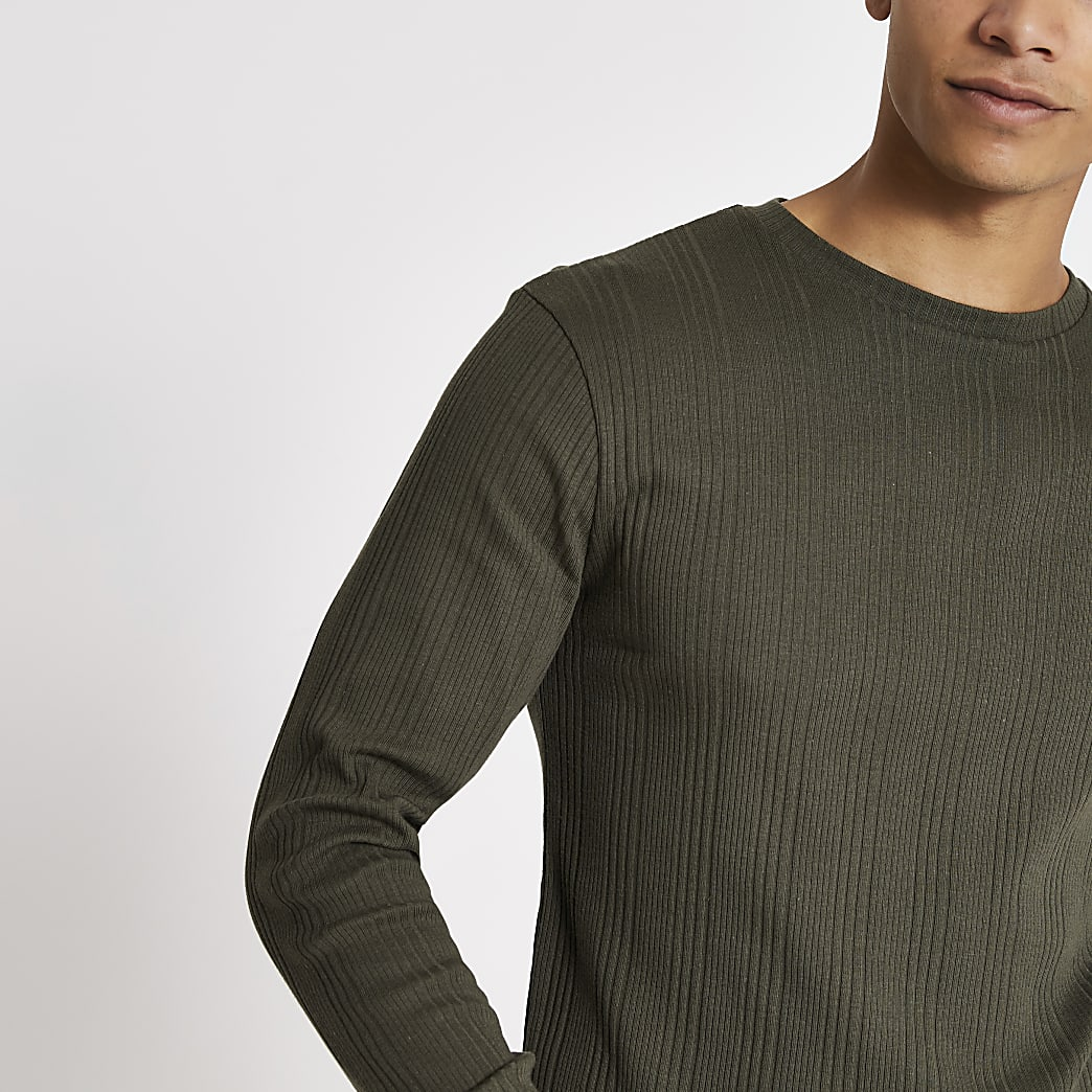 Khaki long sleeve slim fit ribbed T-shirt