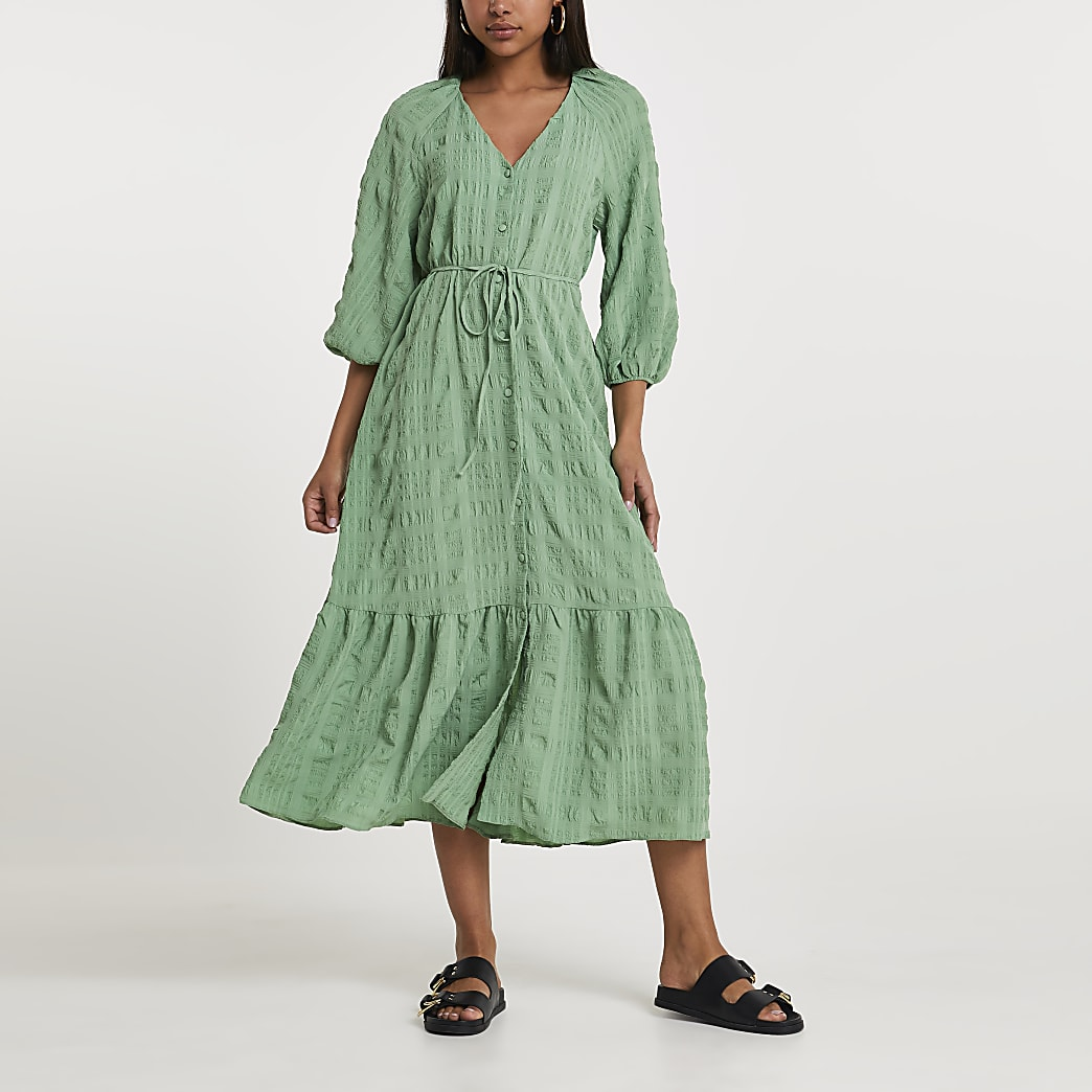 Khaki long sleeve smock dress