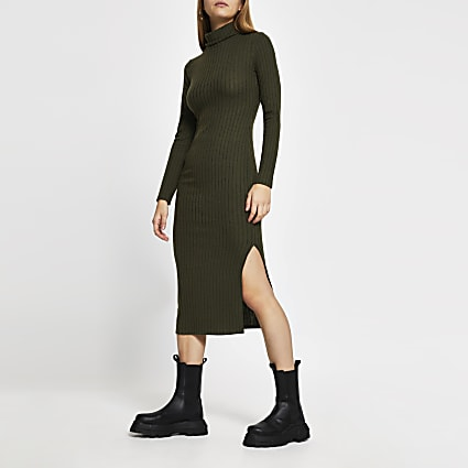 Khaki long sleeve turtle neck midi dress