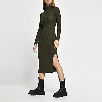 Khaki long sleeve turtle neck midi dress