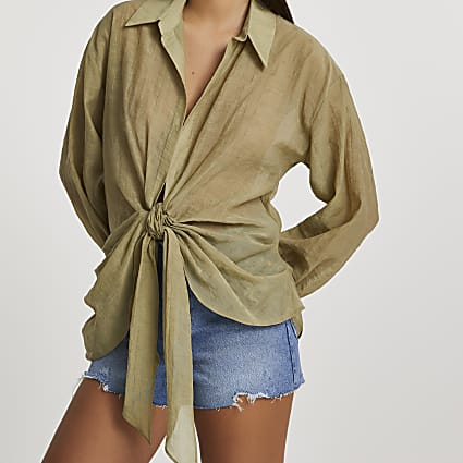 Khaki long sleeve twist tie front shirt