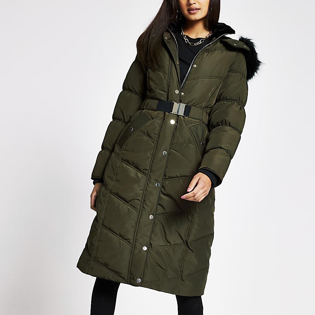 Khaki longline belted puffer coat