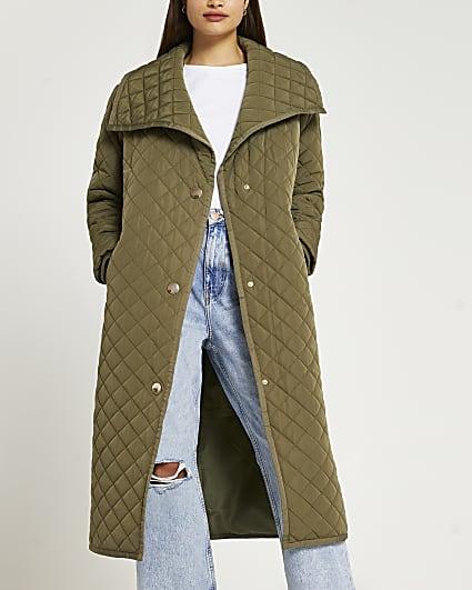 Khaki longline quilted coat