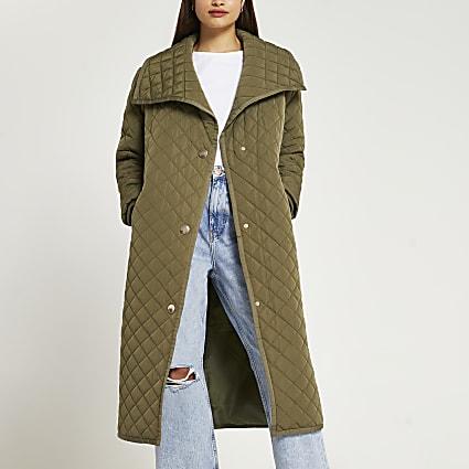 Khaki longline quilted padded coat