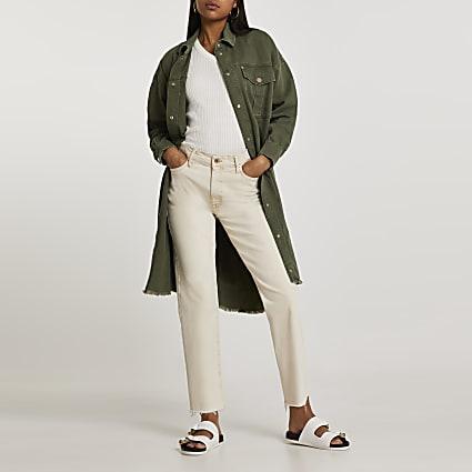 Khaki longline utility long sleeve overshirt