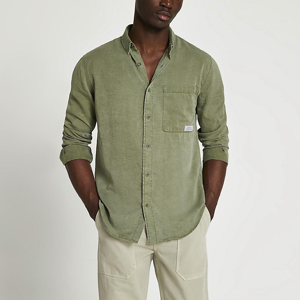 Khaki lyocel pocket long sleeve shirt