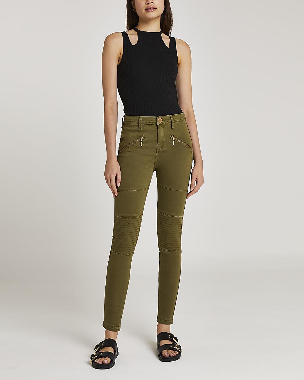 Khaki mid rise bum sculpt skinny jeans