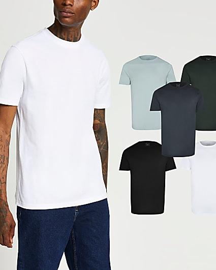 Khaki mix slim fit t-shirts 5 pack