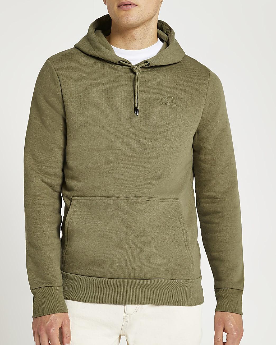 Khaki muscle fit hoodie